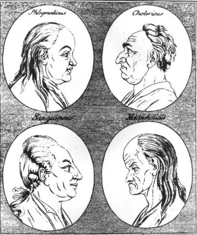 Humoralpatologiens fire «humør» hos noen som ikke har «friske kroppsvæsker». fra venstre: flegmatisk (slim/snørr), kolerisk (overskudd av gul galle), sangvinisk (blod). melankolisk (svart galle). Tresnitt fra 1700-tallet